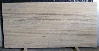 Roman Travertine, Vein Cut, Unfilled, Honed, Slab
