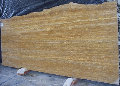 Golden Travertine Vein Cut Slab