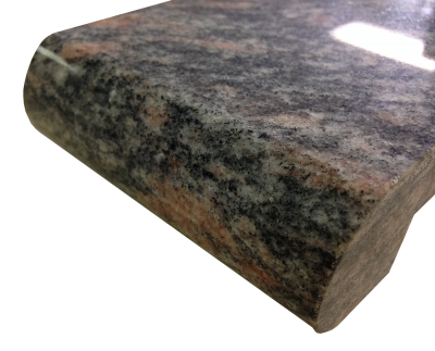 A 1 1/2 inch laminated 1 1/2 inch bullnosed edge on kinawa granite.