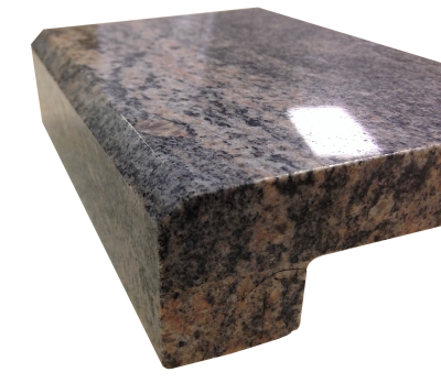 A 4cm laminated 3/8 inch beveled edge on kinawa granite.