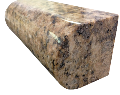 A 4 inch bullnosed edge on giallo veneziano granite.