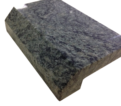 A 4cm laminated 1 inch beveled edge on verde san francisco granite.