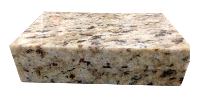 A 4cm laminated square polished edge on santa cecilia granite.