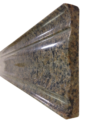 A custom edge on tropical brown granite.