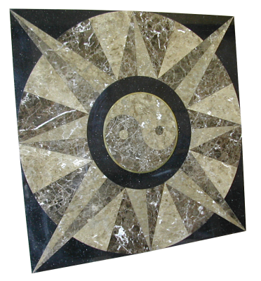 A custom inlay made out of light emperador, dark emperador, and galaxy black granites.